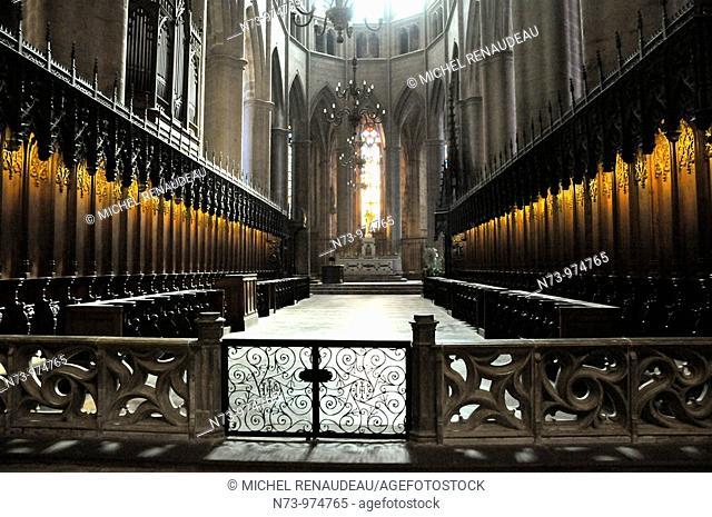 France, Aveyron 12, Rodez, capitale du Rouergue, la nef de la cathédrale Notre Dame