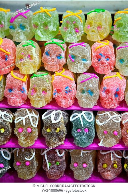Skull Jellies for sale at market during Dia de los Muertos in Mexico City DR