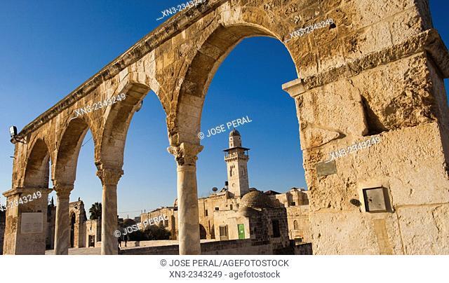 Silsila Minaret on background, Temple Mount, Old City, Jerusalem, Israel