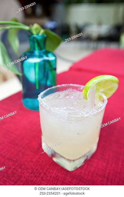 Frozen Margarita in glass served with lemon, Valladolid, Yucatan Province, Mexico, Central America