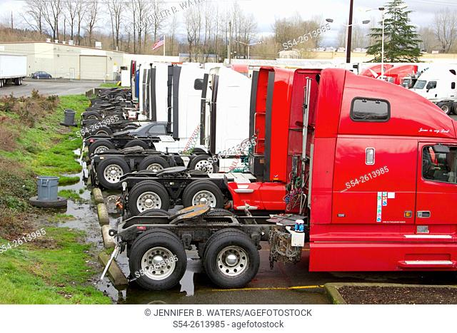 Trucks at a truck stop near the Port of Tacoma, Washington State, USA