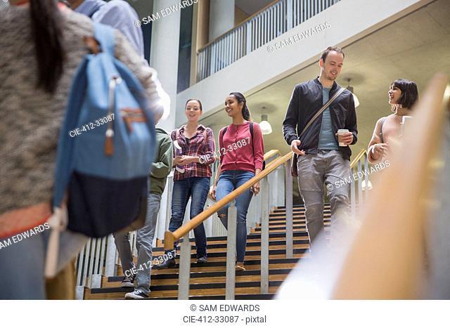 College students descending stairway