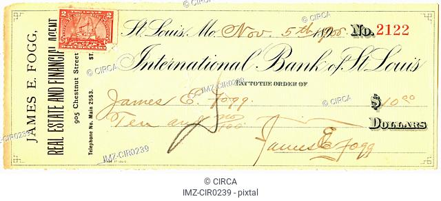 vintage cheque with a stamp on it