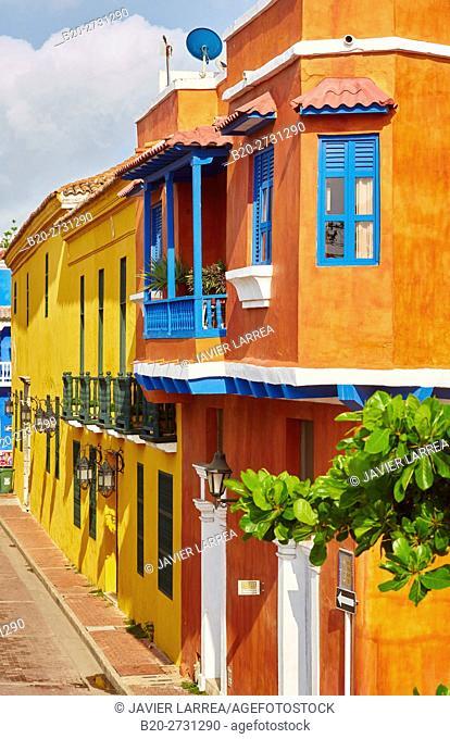Colonial architecture, Cartagena de Indias, Bolivar, Colombia, South America
