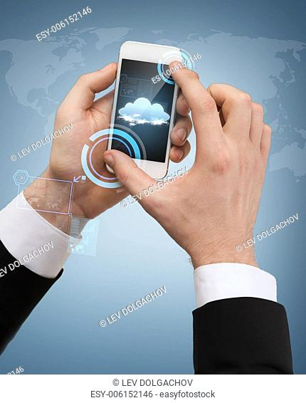 business, internet and technology concept - businessman touching screen of smartphone and cloud in it
