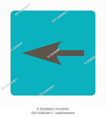 Sharp Left Arrow flat grey and cyan colors rounded button