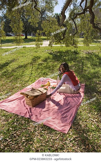 Portrait of young African American woman having a picnic outdoors in park, looking at camera