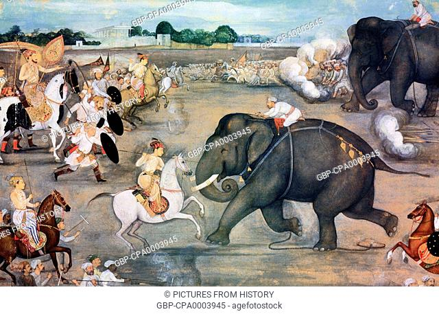 India: The court of Shah Jahan loved elephant fights. In this painting, an elephant called Sudhakar faces down the forces of Prince Aurangzeb