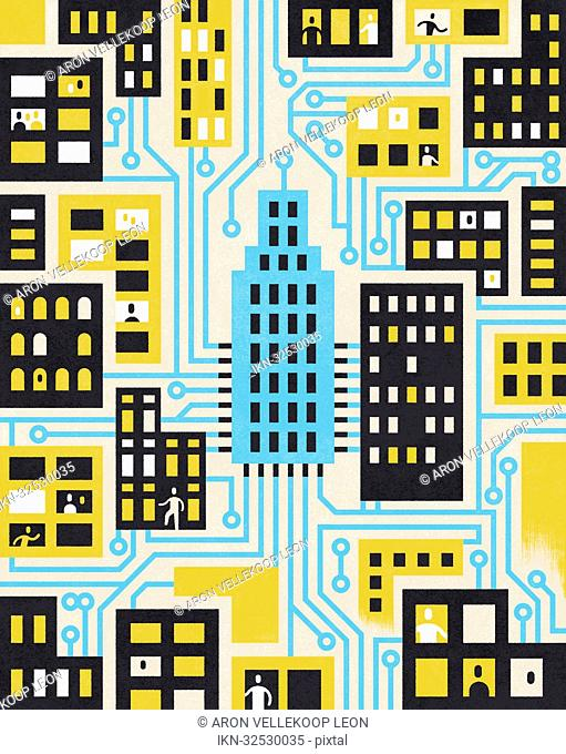People and houses in the city connected by circuit board