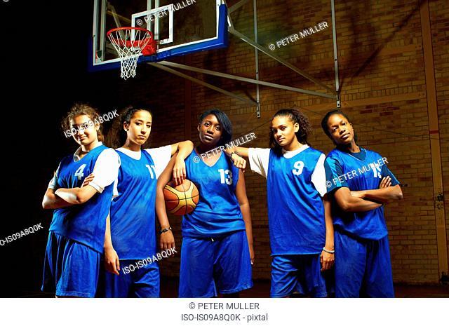 Portrait of female basketball team