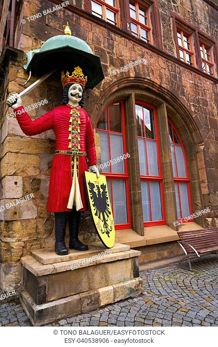 Roland figure at Stadt Nordhausen Rathaus in Thuringia Germany