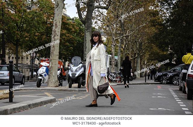 PARIS, France- October 2 2018: Kristi Gogsadze on the street during the Paris Fashion Week