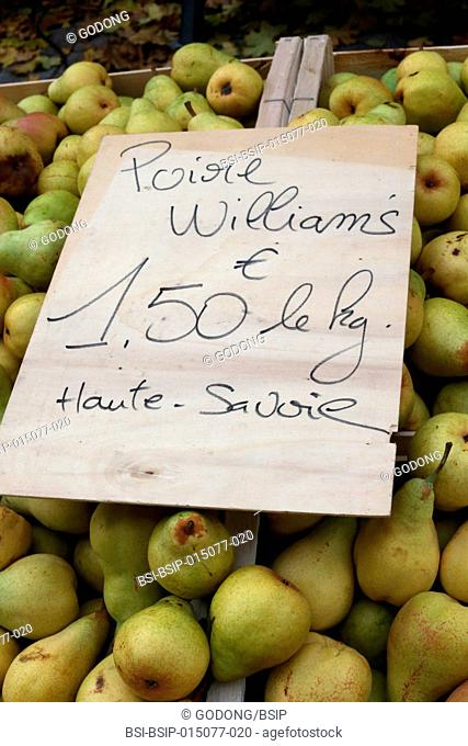 Organic pears on a market
