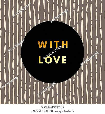 Romantic love creative, printable journaling, Valentine day greeting card. Gold minimal logo in frame on abstract background Vintage modern design for banner