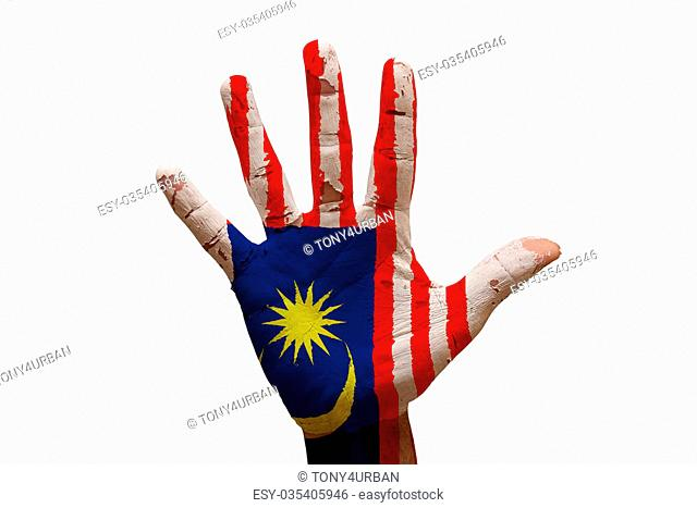 man hand palm painted flag of malaysia