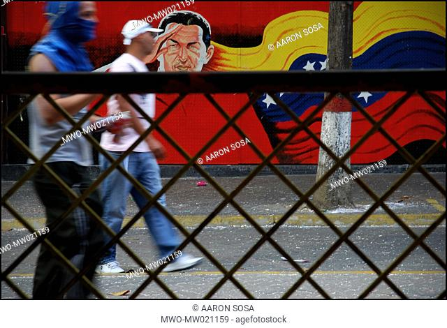 Supporters of President Hugo Chavez during a march called by the president Caracas, Venezuela 2004