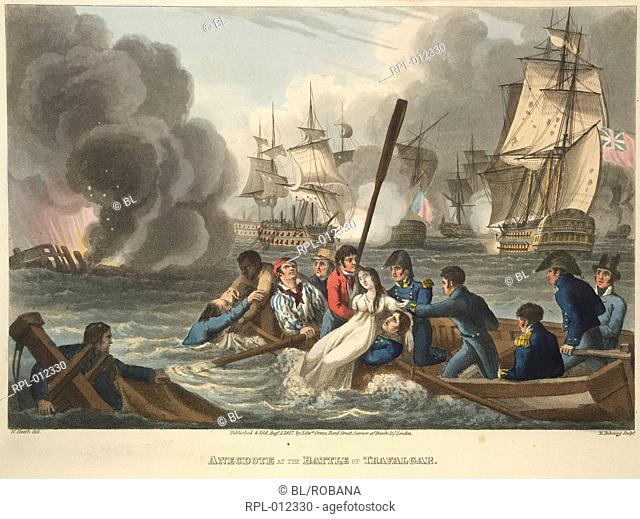 The Battle of Trafalgar, 'Anecdote at the Battle of Trafalgar'. British sailors rescue a French woman, Jeanne Caunant, a survivor from the French warship...