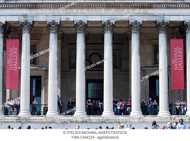 Close up of National Gallery Entrance in London
