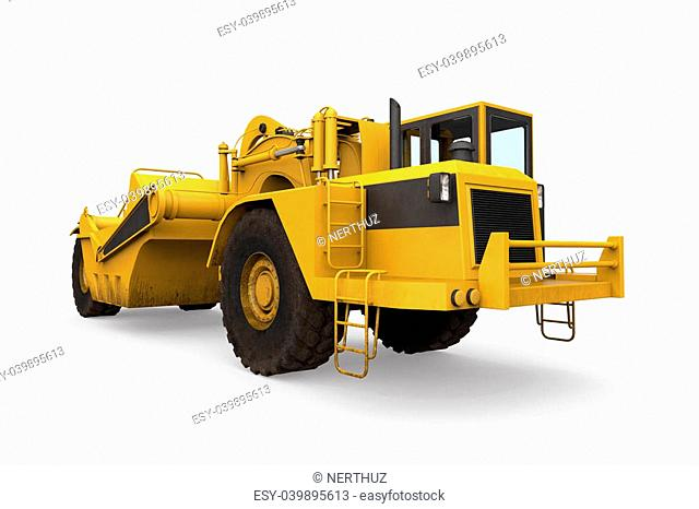 Wheel Tractor Scraper isolated on white background. 3D render