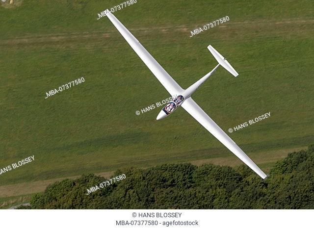 Aerial view, glider LSC Hamm ASK21 Training aircraft, Hamm, Ruhr area, North Rhine-Westphalia, Germany, Europe