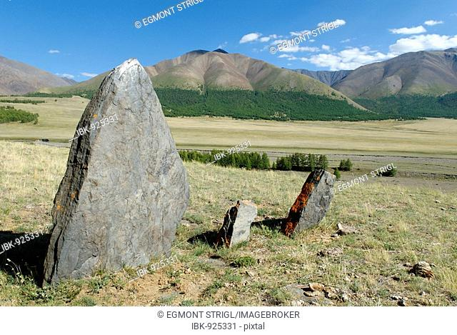 Prehistoric rock formations, Saylyugem Mountains, Chuya Steppe, Altai Republic, Siberia, Russia, Asia