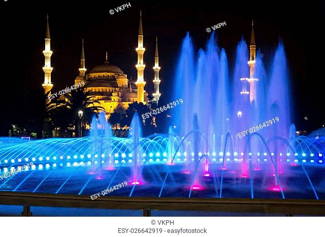 Colored Fountain and The Blue Mosque in Istanbul at Night