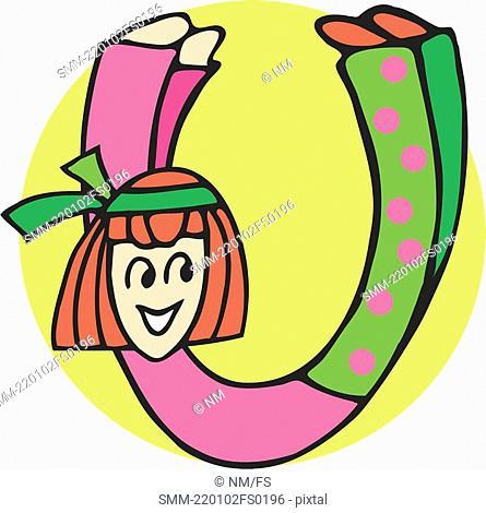 Close up view of girl forming alphabet U