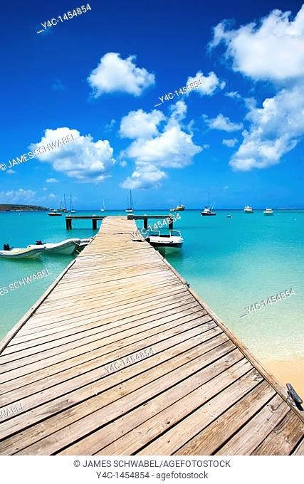 Public dock on Road Bay in Sandy Ground area on the caribbean island of Anguilla in the British West Indies