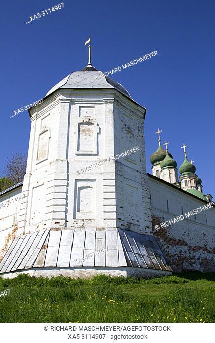 Tower and Wall, Goritsky Dormition Monastery, Pereslavl-Zalessky, Golden Ring, Yaroslavl Oblast, Russia