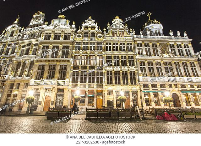 Grand Place by night in Brussels, Belgium
