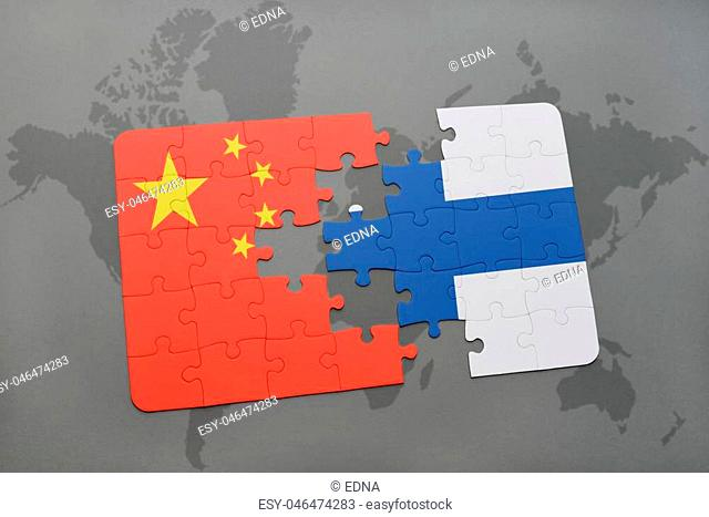 puzzle with the national flag of china and finland on a world map background. 3D illustration