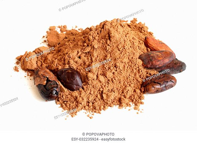 Cacao beans and cacao powder on a white background