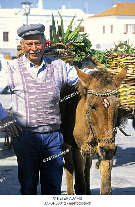 Man with Donkey, Mykonos, Greece