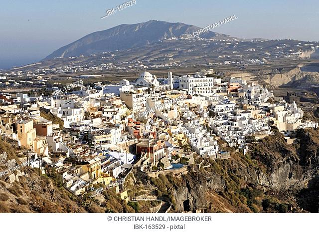 The settlement of Fira is spectacular situated at the calderas edge , Fira, Santorini, Greek