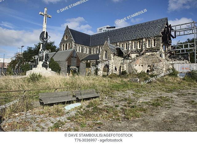 The ChristChurch Cathedral, still damaged after the 2011 earthquake, ChristChurch, New Zealand