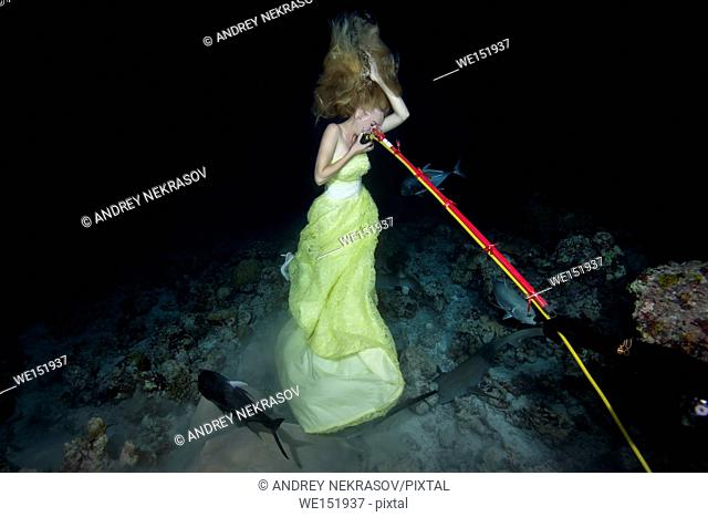 Scuba diver gives air to a young beautiful woman in a yellow dress posing underwater with a Tawny nurse sharks (Nebrius ferrugineus), a night shoot