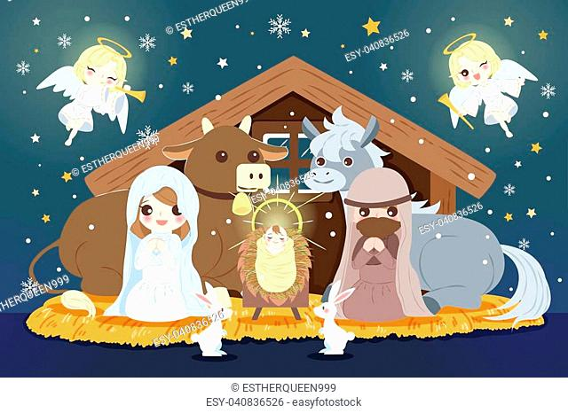 cartoon Christmas Nativity Scene with baby Jesus