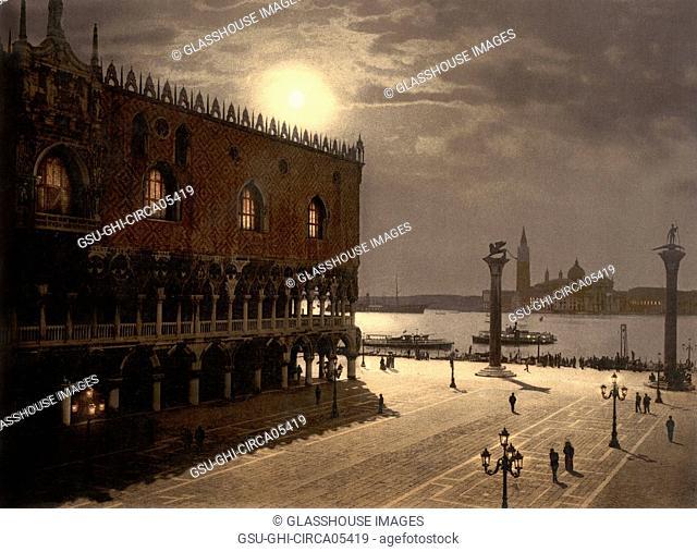 Piazzetta and San Giorgio by Moonlight, Venice, Italy, Photochrome Print, Detroit Publishing Company, 1900