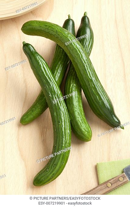 Homegrown fresh organic cucumbers