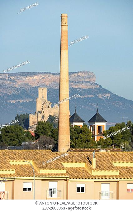 Castle, towers (Asilo) and Mugrón, Almansa, Albacete province, Castilla-La Mancha, Spain