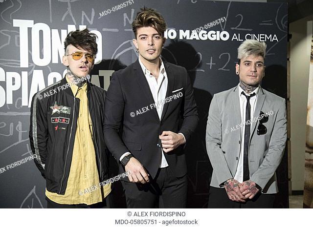 The singers The Kolors (Antonio Stash Fiordispino, Alex Fiordispino e Daniele Mona) at the photocall of the film Tonno Spiaggiato