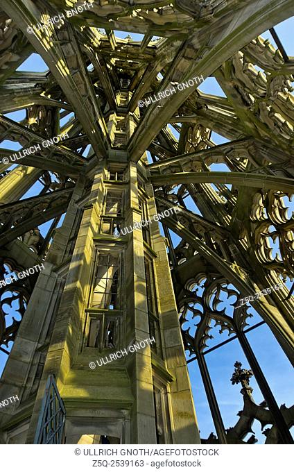 Gothic spire with tracery and butress, Ulm Minster, Germany