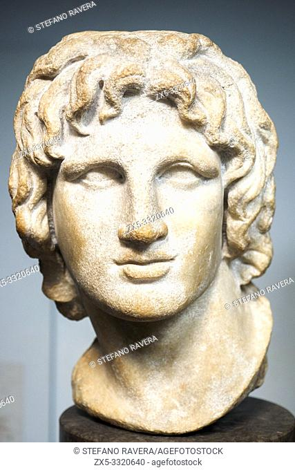 Marble portrait of Alexander the Great. said to be from Alexandria. 2nd - 1st Century BC