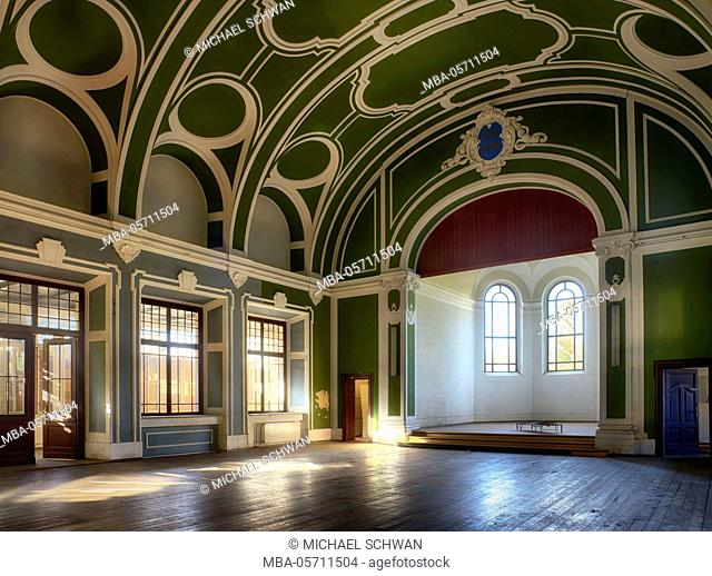 Church as an event hall in a former hospital with green blankett