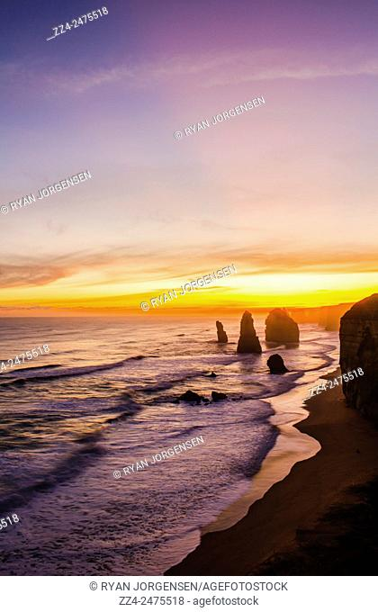 Vertical sundown landscape of the beautiful 12 apostles in Victoria Australia. Australian Landmarks