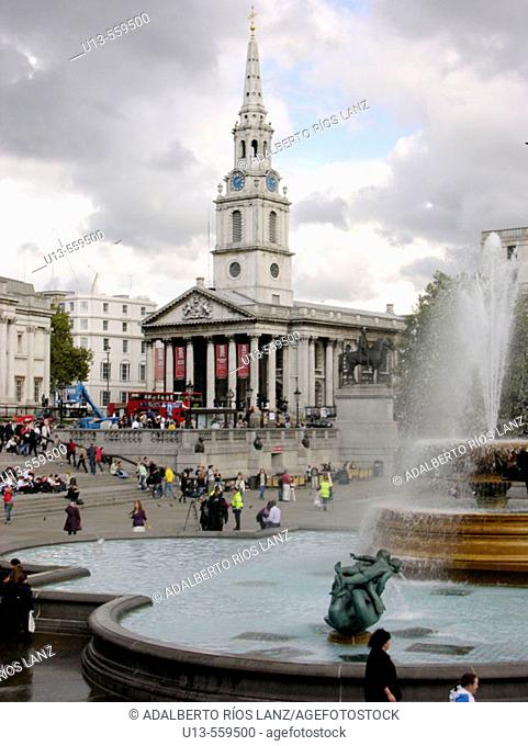 Trafalgar Square fountains and St. Martin-in-the-Fields church. London. England