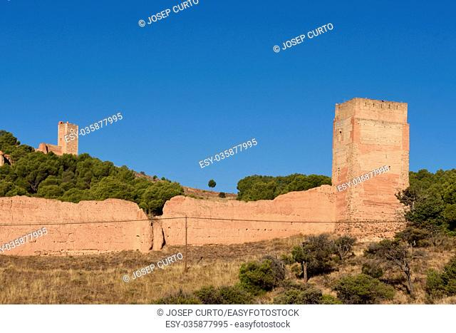 Medieval town walls of Daroca and Jaque tower, in the background the tower of Sant Cristobal, Zaragoza province, Aragon, Spain