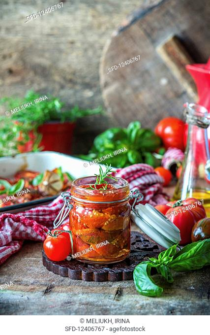 Slowly roasted tomatoes in a jar