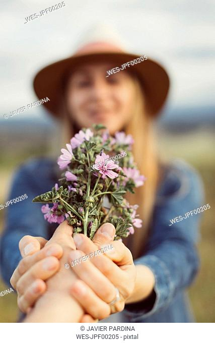 Man's hand presenting woman picked flowers