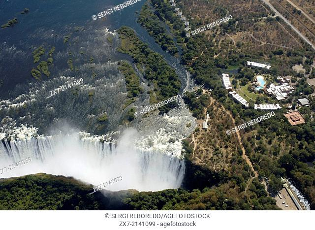 Aerial views of the Victoria Falls. Victoria Falls present a spectacular sight of awe-inspiring beauty and grandeur on the Zambezi River